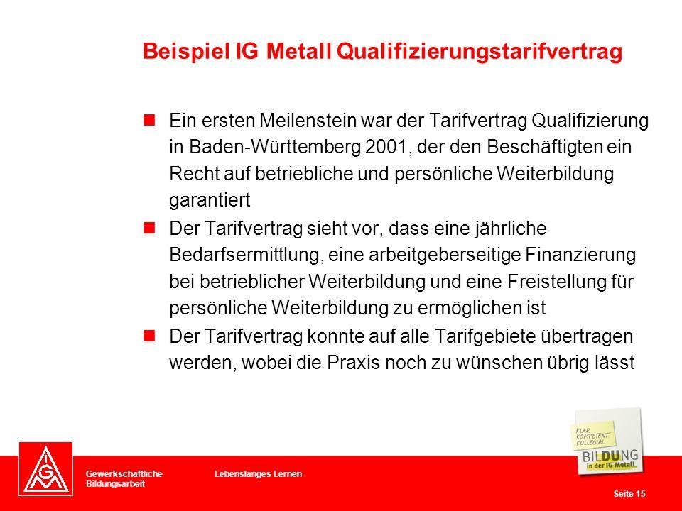 Beispiel IG Metall Qualifizierungstarifvertrag
