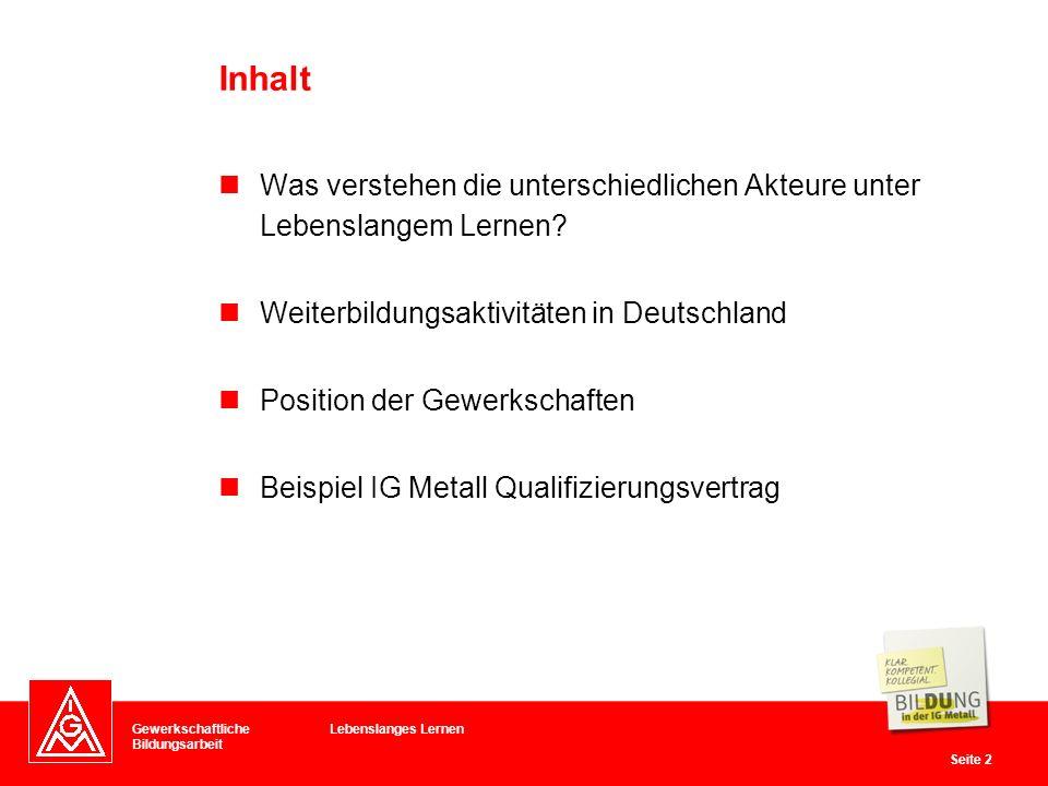 Inhalt Was verstehen die unterschiedlichen Akteure unter Lebenslangem Lernen Weiterbildungsaktivitäten in Deutschland.