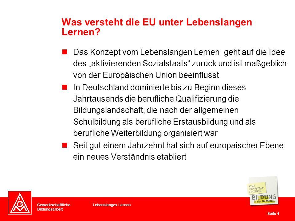 Was versteht die EU unter Lebenslangen Lernen