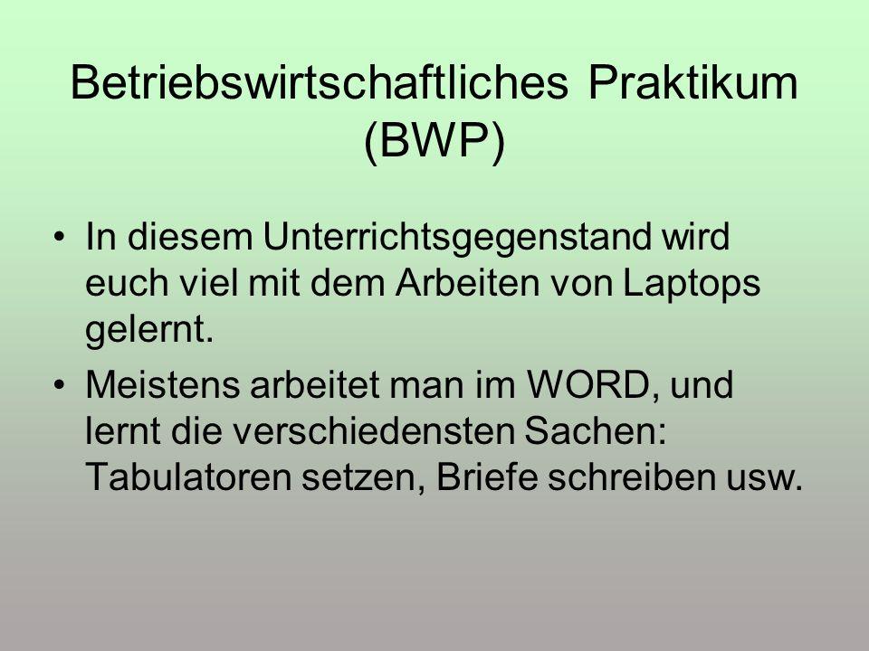 Betriebswirtschaftliches Praktikum (BWP)