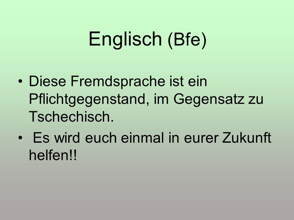 Englisch (Bfe) Diese Fremdsprache ist ein Pflichtgegenstand, im Gegensatz zu Tschechisch.