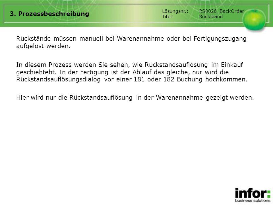3. Prozessbeschreibung Lösungsnr.: RS0026_BackOrder. Titel: Rückstand.