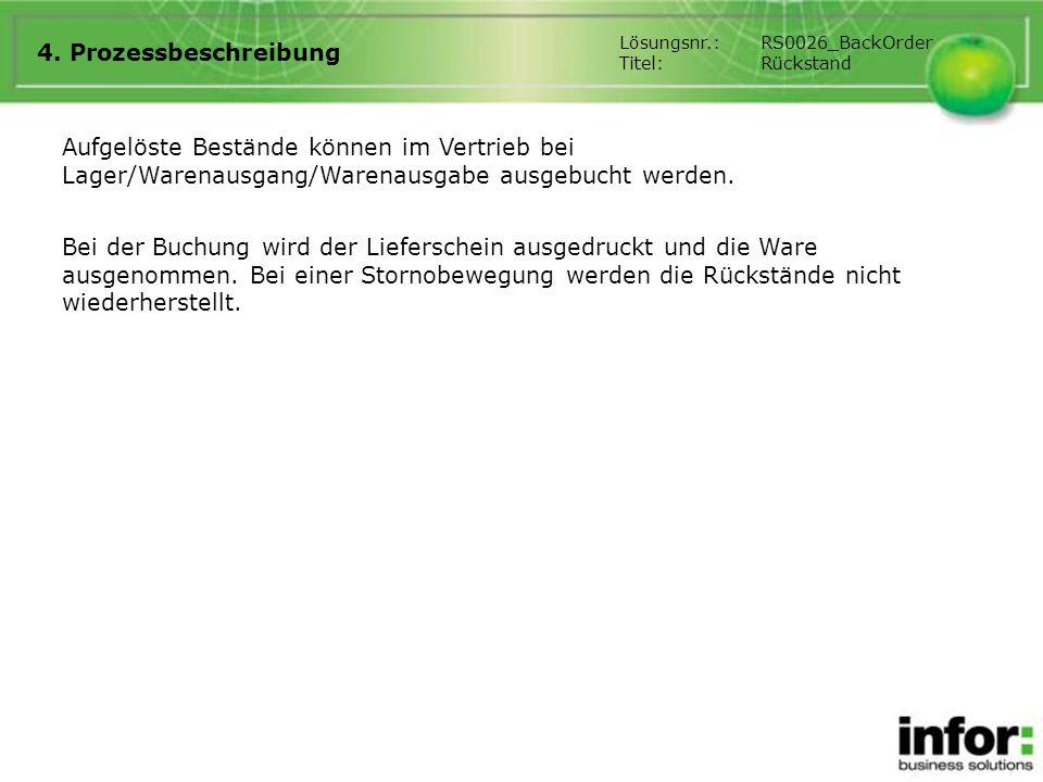 4. Prozessbeschreibung Lösungsnr.: RS0026_BackOrder. Titel: Rückstand.