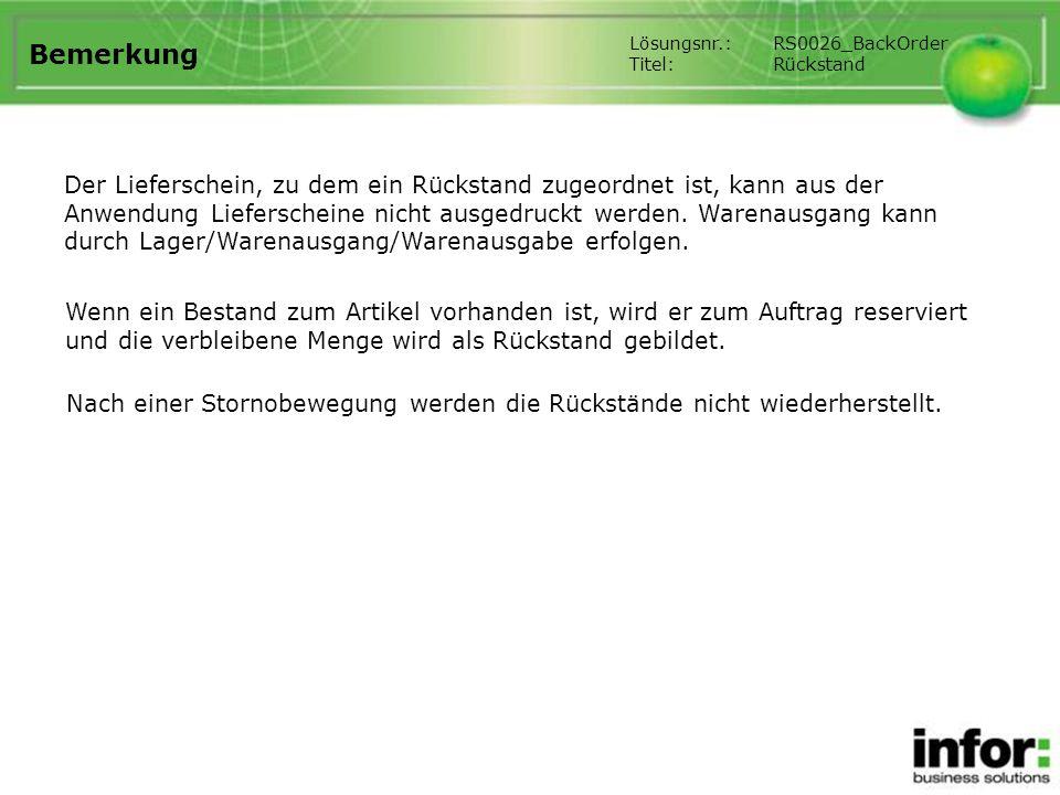Bemerkung Lösungsnr.: RS0026_BackOrder. Titel: Rückstand.