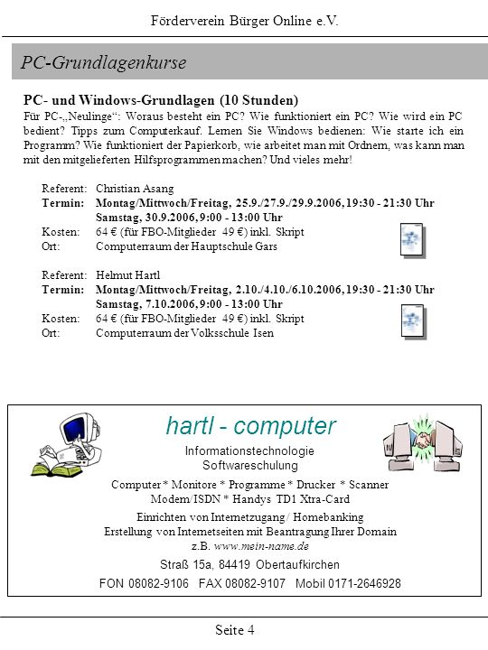 hartl - computer PC-Grundlagenkurse