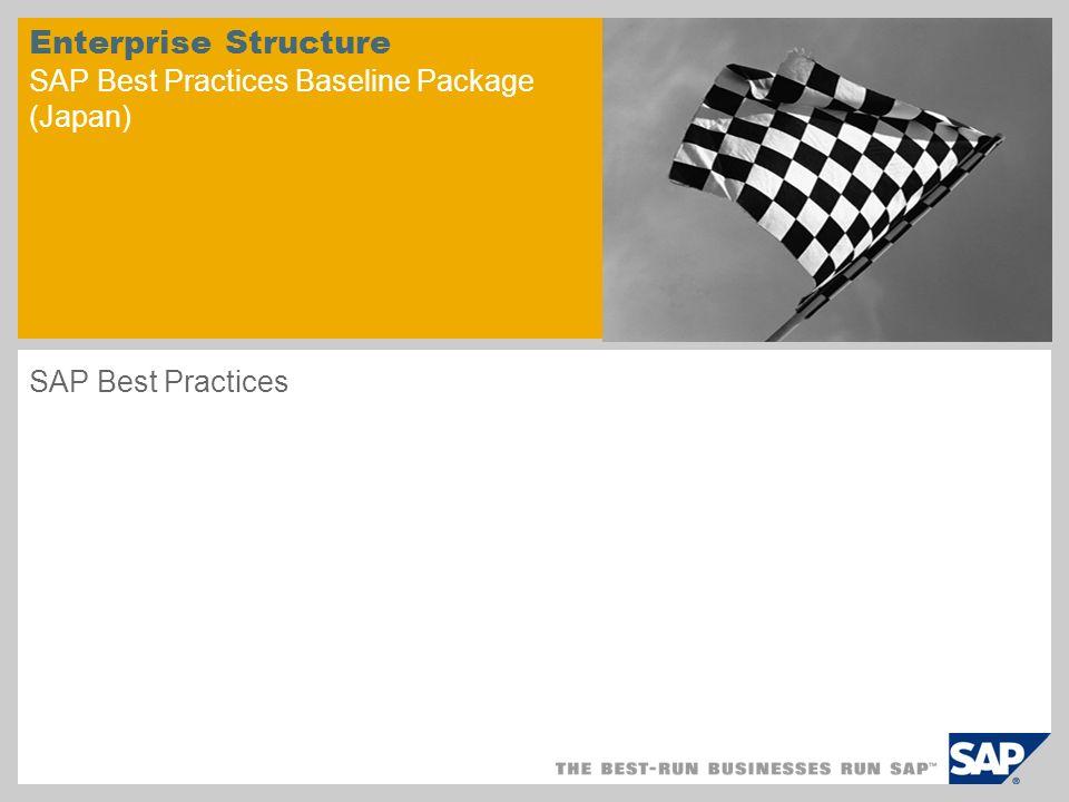Enterprise Structure SAP Best Practices Baseline Package (Japan)