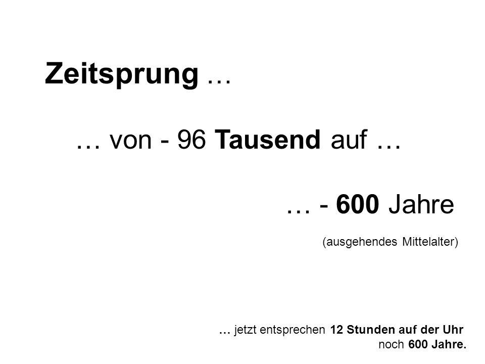 Zeitsprung … … von - 96 Tausend auf … … - 600 Jahre
