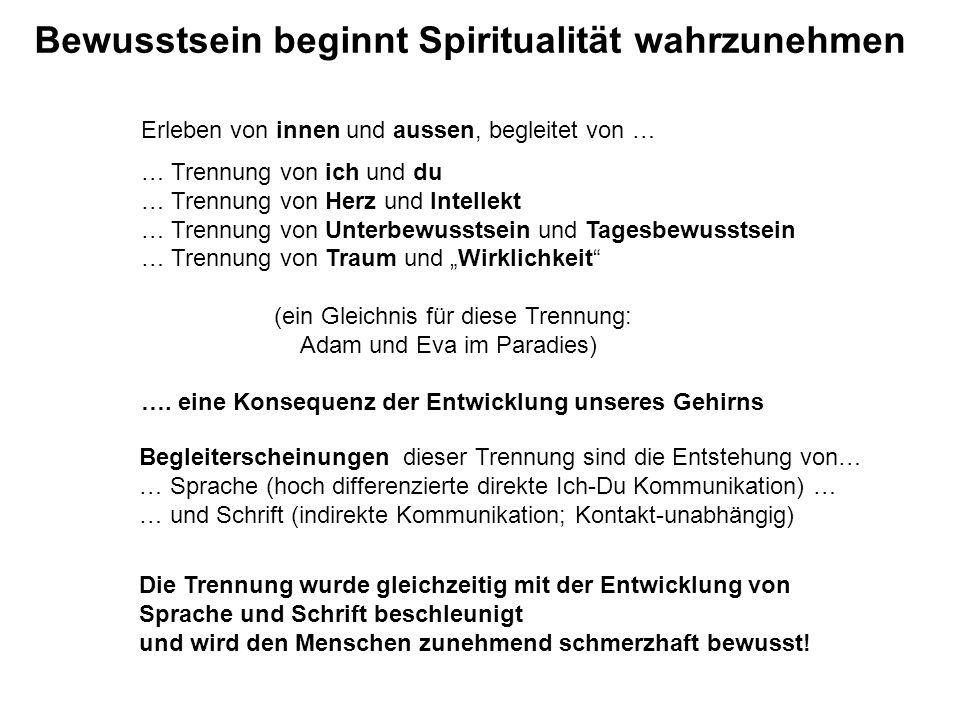 Bewusstsein beginnt Spiritualität wahrzunehmen