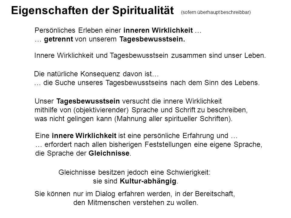 Eigenschaften der Spiritualität (sofern überhaupt beschreibbar)