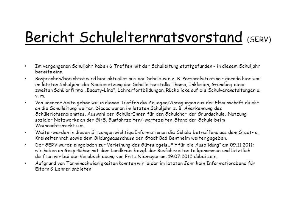 Bericht Schulelternratsvorstand (SERV)