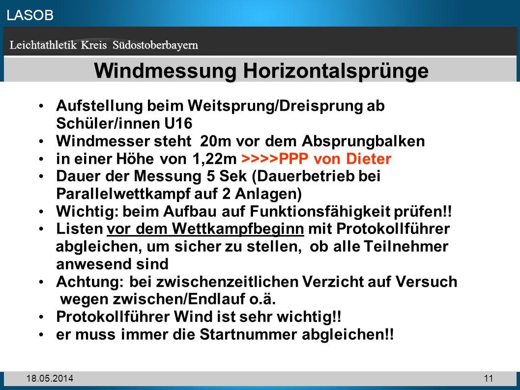 Windmessung Horizontalsprünge