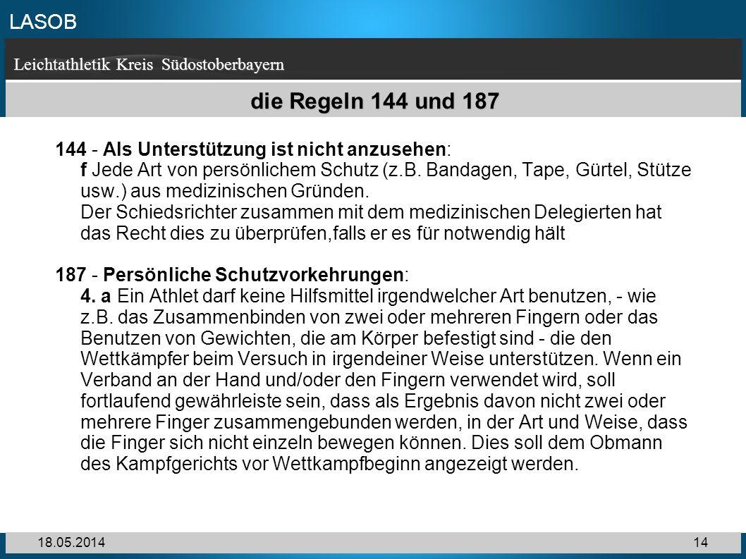 die Regeln 144 und 187