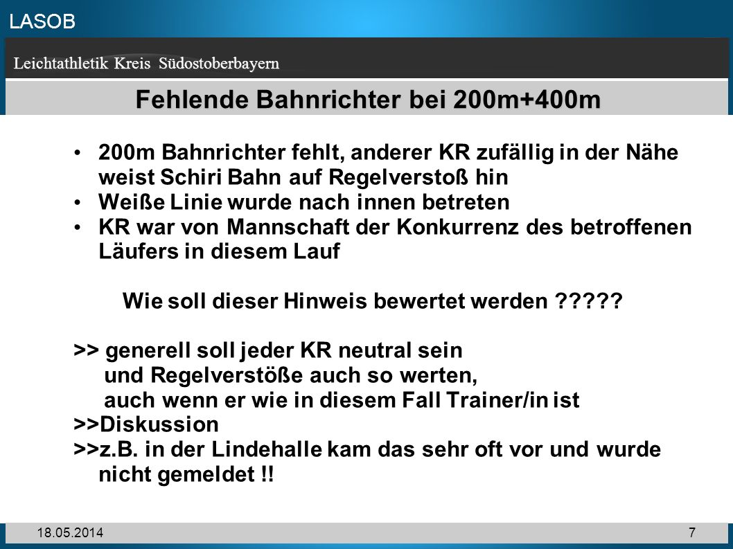 Fehlende Bahnrichter bei 200m+400m