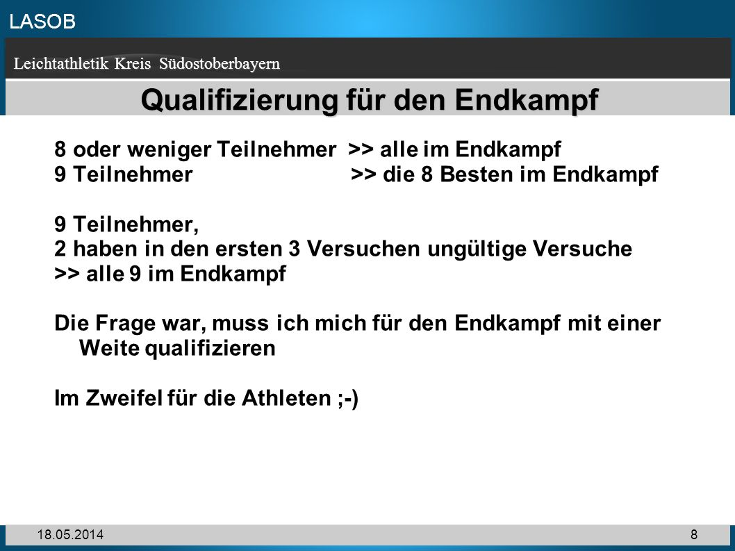 Qualifizierung für den Endkampf