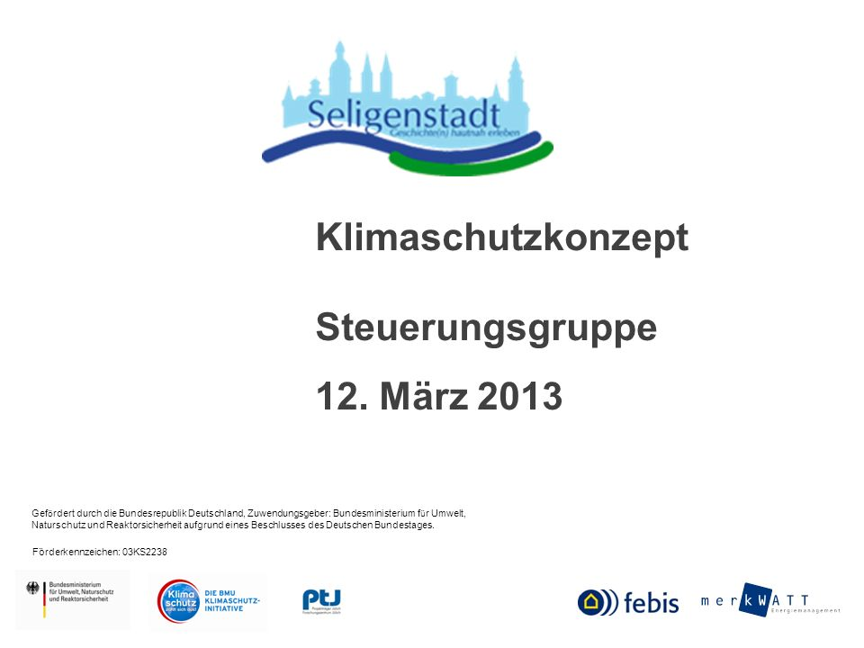 Klimaschutzkonzept Steuerungsgruppe 12. März 2013