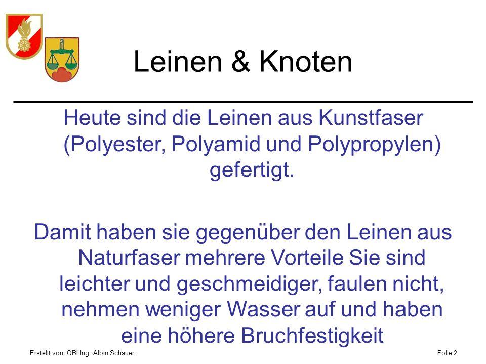 Leinen & Knoten Heute sind die Leinen aus Kunstfaser (Polyester, Polyamid und Polypropylen) gefertigt.