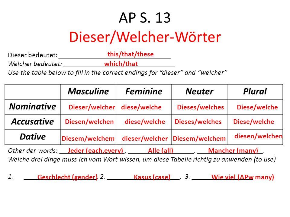 AP S. 13 Dieser/Welcher-Wörter