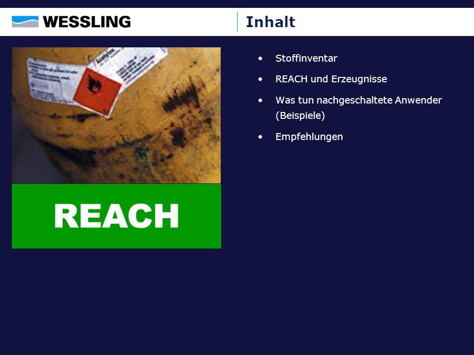Inhalt Stoffinventar REACH und Erzeugnisse