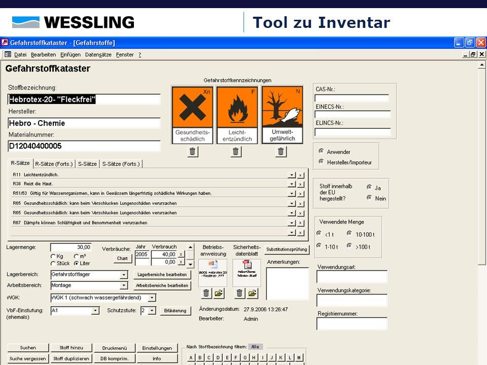 Tool zu Inventar