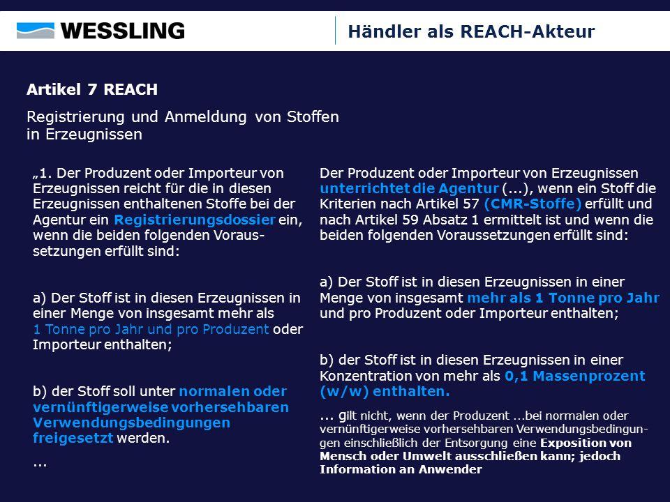 Händler als REACH-Akteur