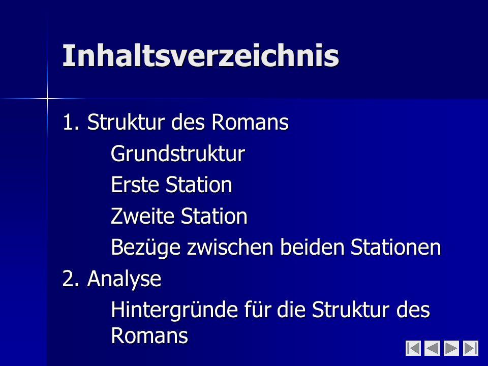 Inhaltsverzeichnis 1. Struktur des Romans Grundstruktur Erste Station