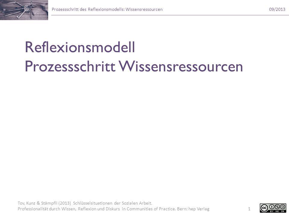 Reflexionsmodell Prozessschritt Wissensressourcen