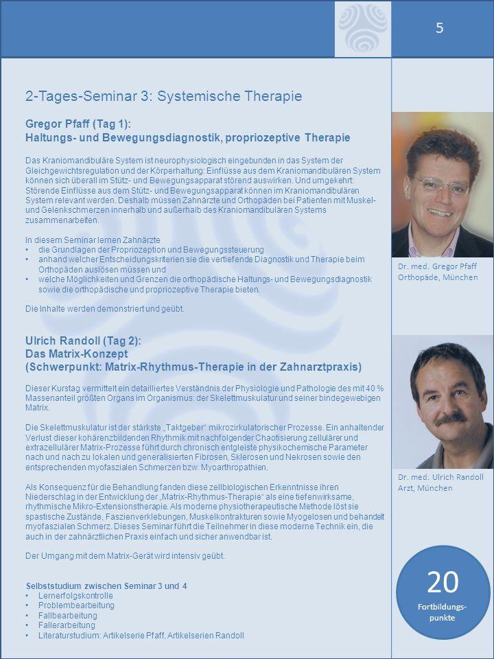 20 Fortbildungs-punkte 5 2-Tages-Seminar 3: Systemische Therapie