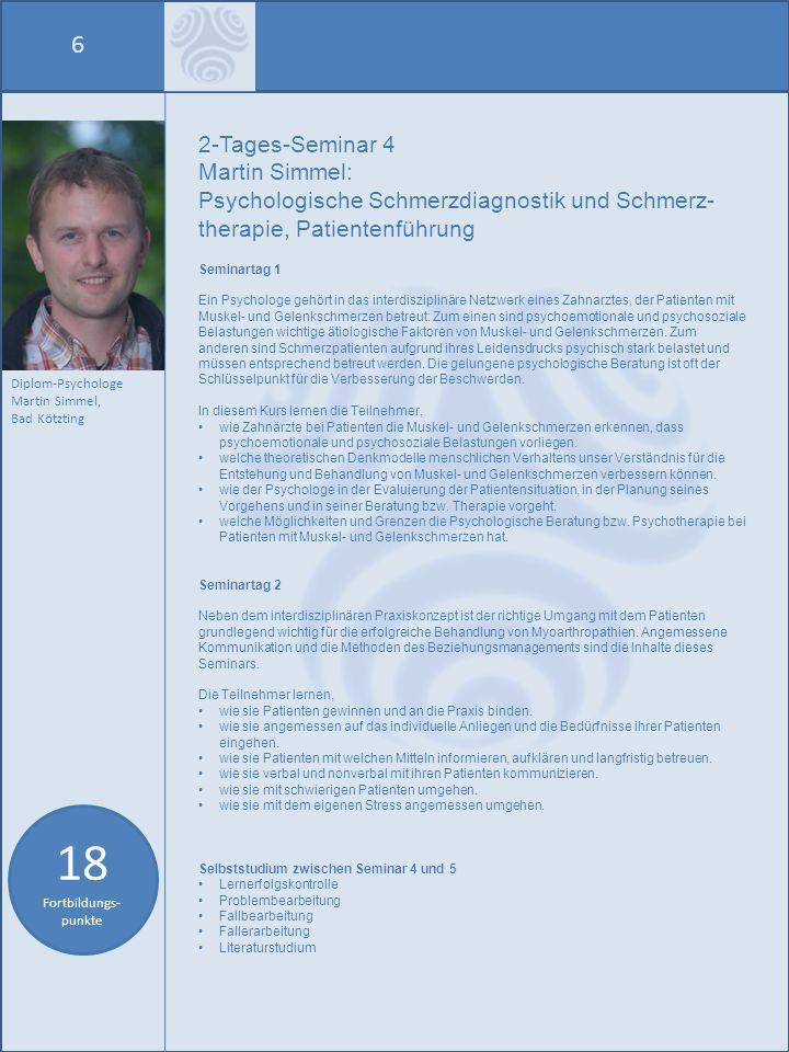 18 Fortbildungs-punkte 6 2-Tages-Seminar 4 Martin Simmel: