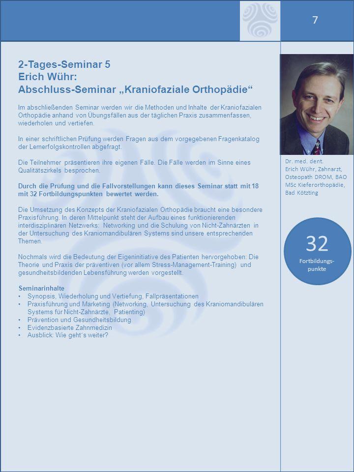 32 Fortbildungs-punkte 7 2-Tages-Seminar 5 Erich Wühr: