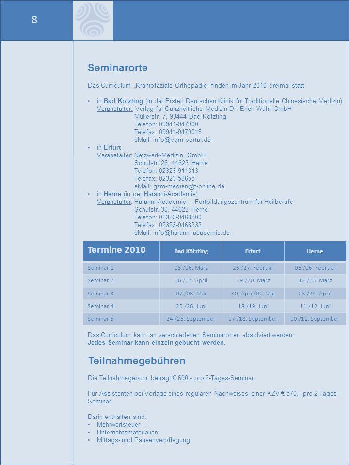 8 Seminarorte Termine 2010 Teilnahmegebühren