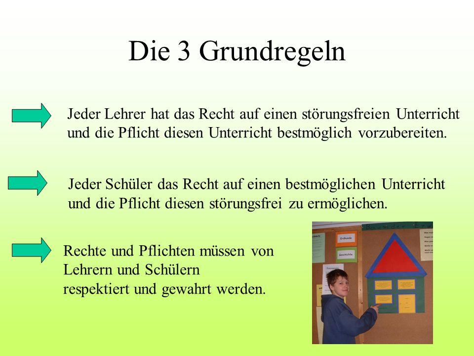 Die 3 Grundregeln Jeder Lehrer hat das Recht auf einen störungsfreien Unterricht. und die Pflicht diesen Unterricht bestmöglich vorzubereiten.