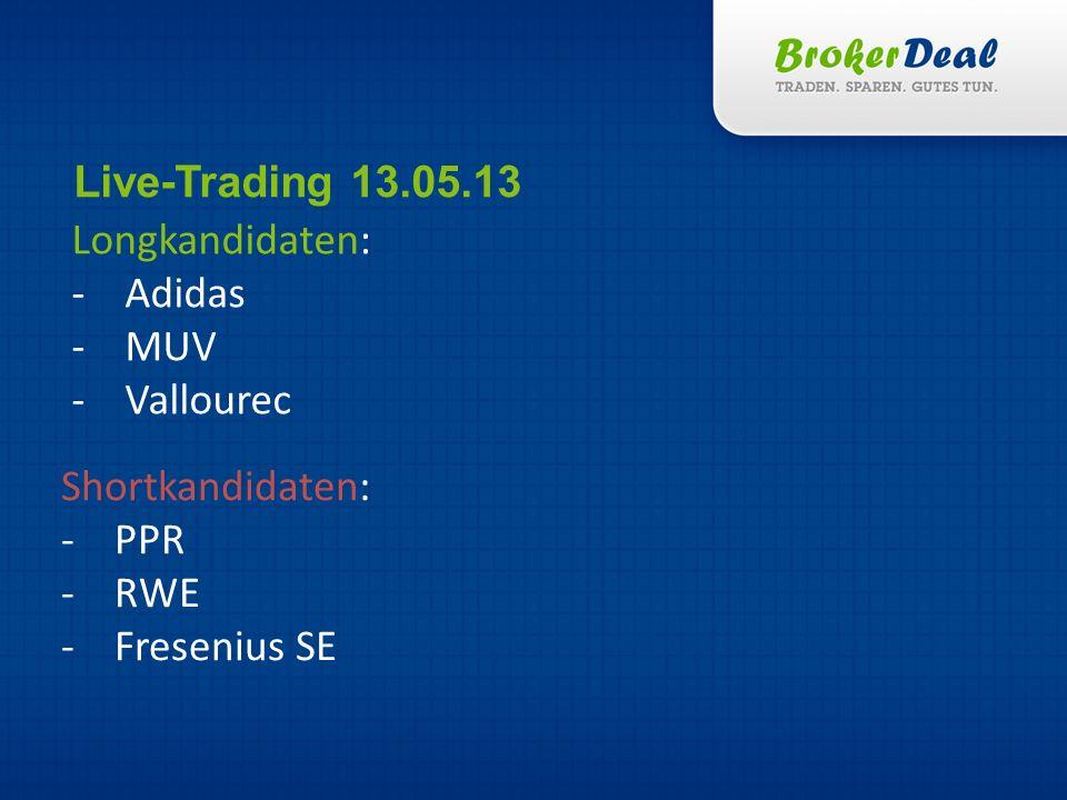 Live-Trading 13.05.13 Longkandidaten: Adidas MUV Vallourec Shortkandidaten: PPR RWE Fresenius SE