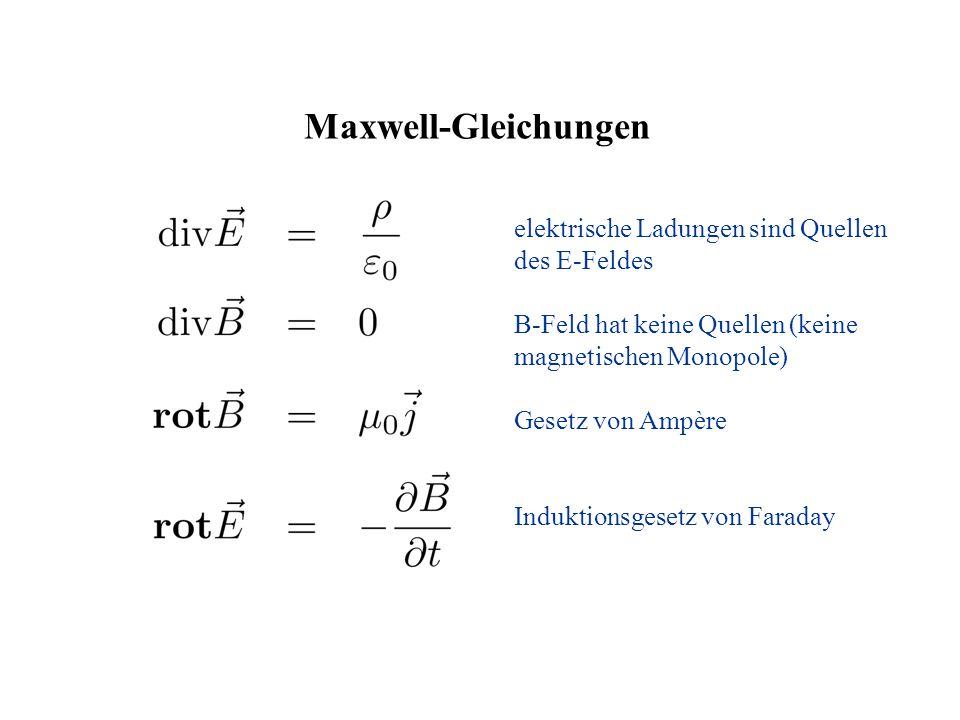 Maxwell-Gleichungen elektrische Ladungen sind Quellen des E-Feldes