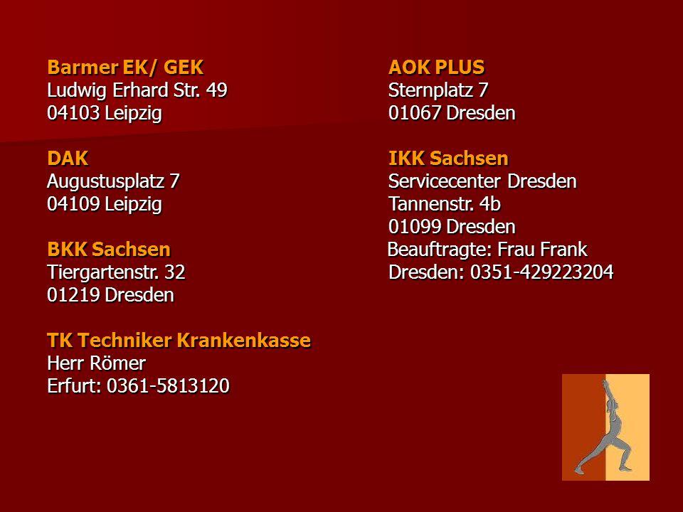 Barmer EK/ GEK AOK PLUS Ludwig Erhard Str. 49 Sternplatz 7. 04103 Leipzig 01067 Dresden.