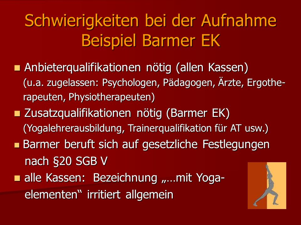 Schwierigkeiten bei der Aufnahme Beispiel Barmer EK