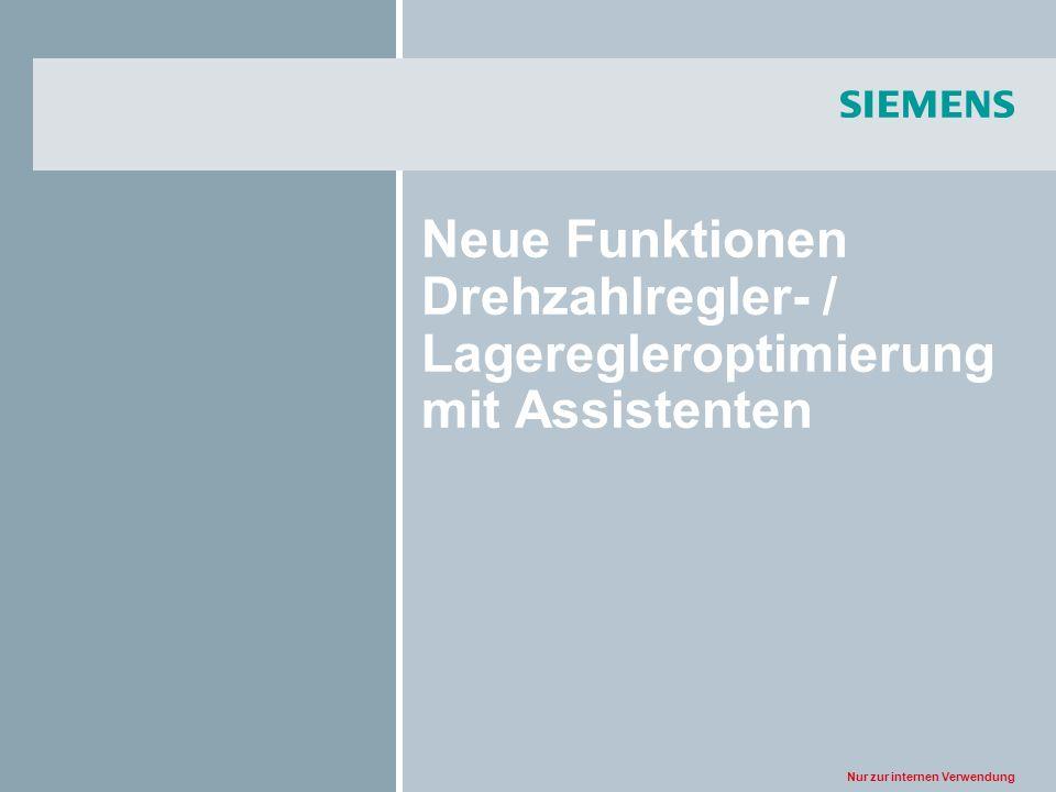 Neue Funktionen Drehzahlregler- / Lageregleroptimierung mit Assistenten
