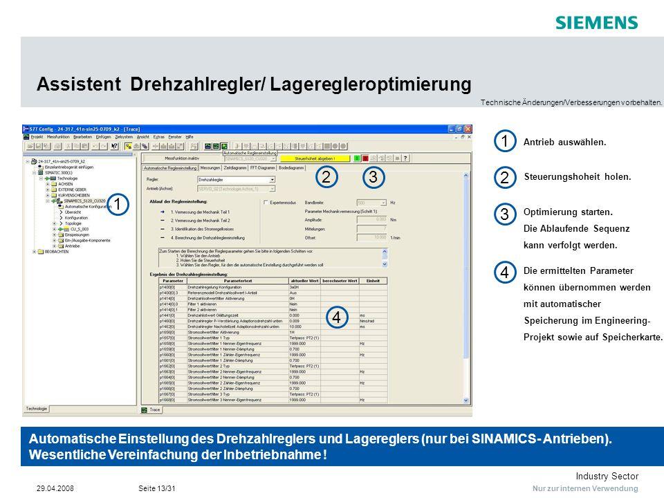 Assistent Drehzahlregler/ Lageregleroptimierung