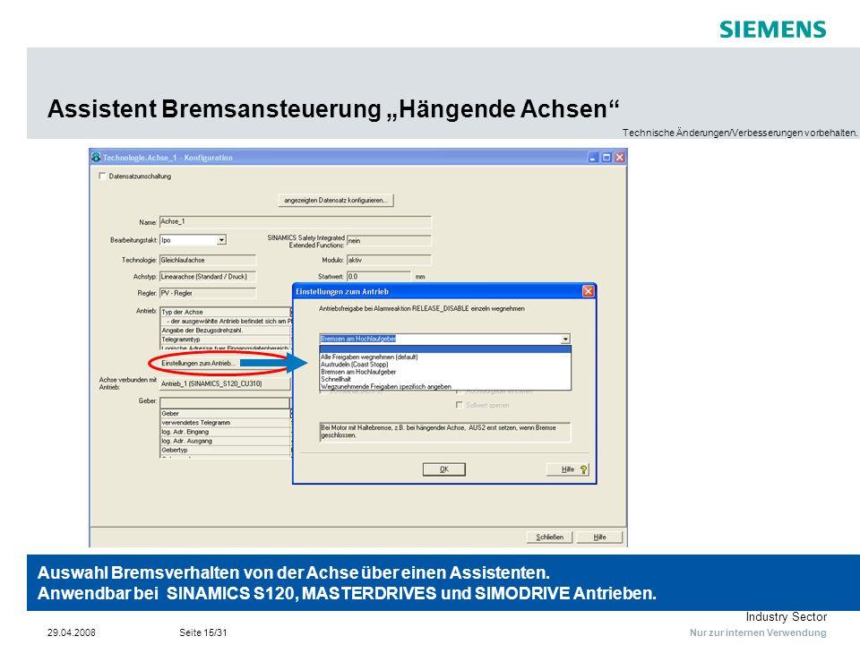 """Assistent Bremsansteuerung """"Hängende Achsen"""