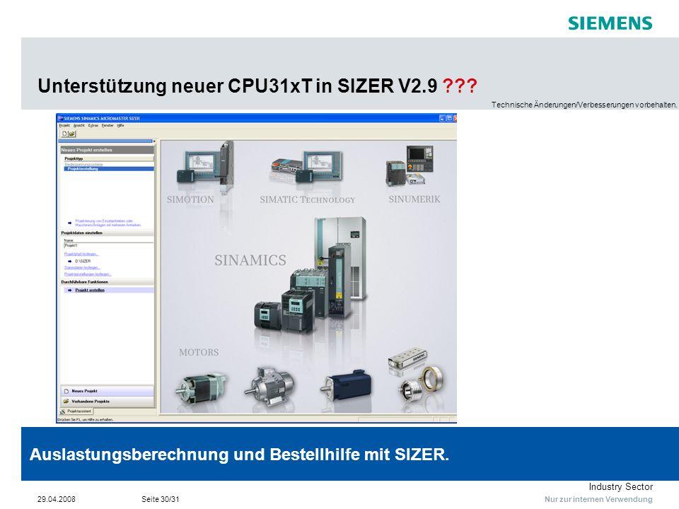 Unterstützung neuer CPU31xT in SIZER V2.9