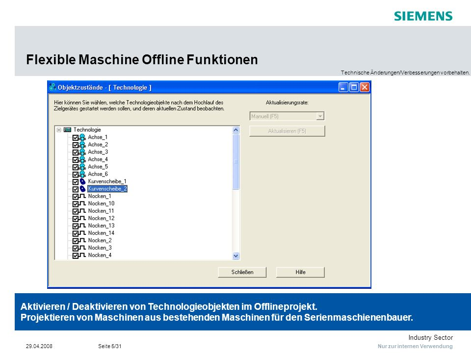 Flexible Maschine Offline Funktionen