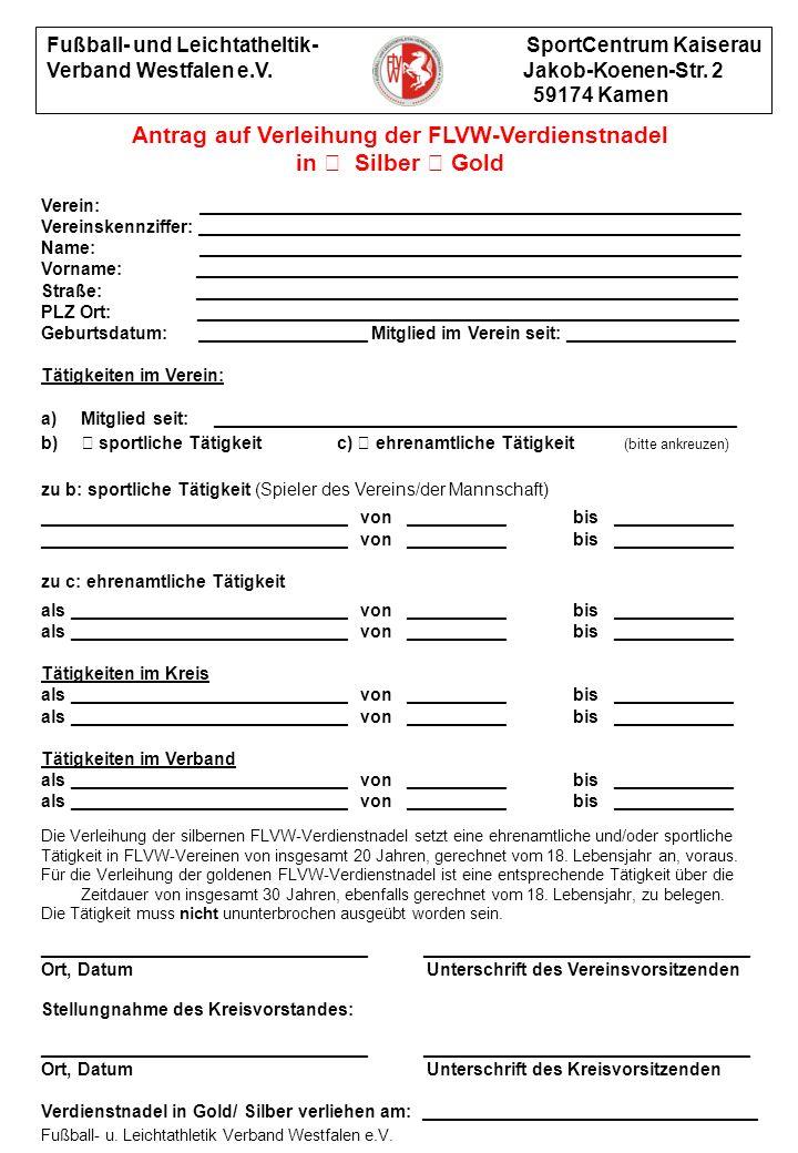 Antrag auf Verleihung der FLVW-Verdienstnadel