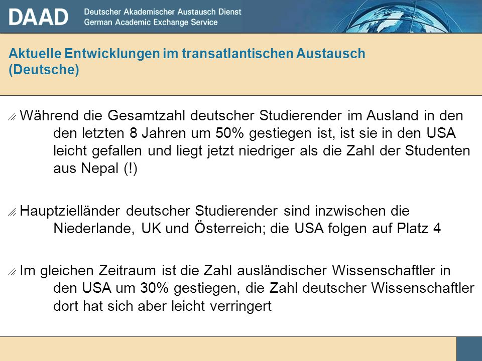 Aktuelle Entwicklungen im transatlantischen Austausch (Deutsche)