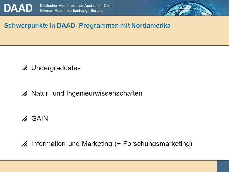 Schwerpunkte in DAAD- Programmen mit Nordamerika