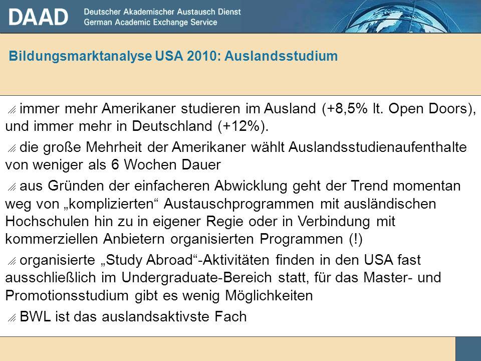 Bildungsmarktanalyse USA 2010: Auslandsstudium