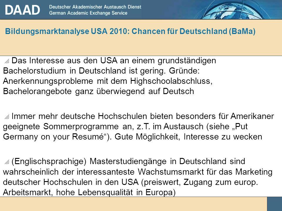Bildungsmarktanalyse USA 2010: Chancen für Deutschland (BaMa)