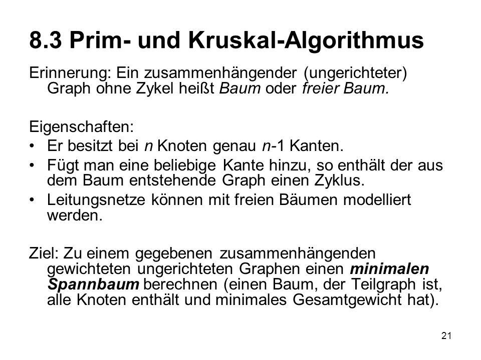8.3 Prim- und Kruskal-Algorithmus