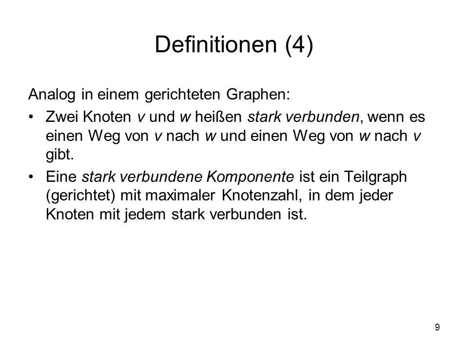 Definitionen (4) Analog in einem gerichteten Graphen: