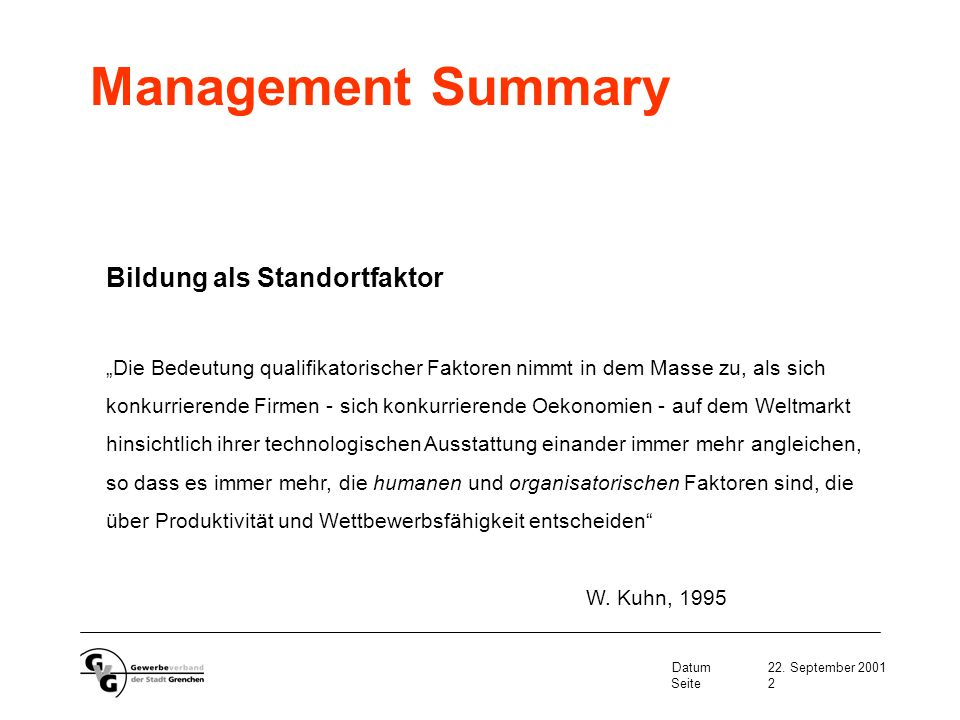 Management Summary Bildung als Standortfaktor