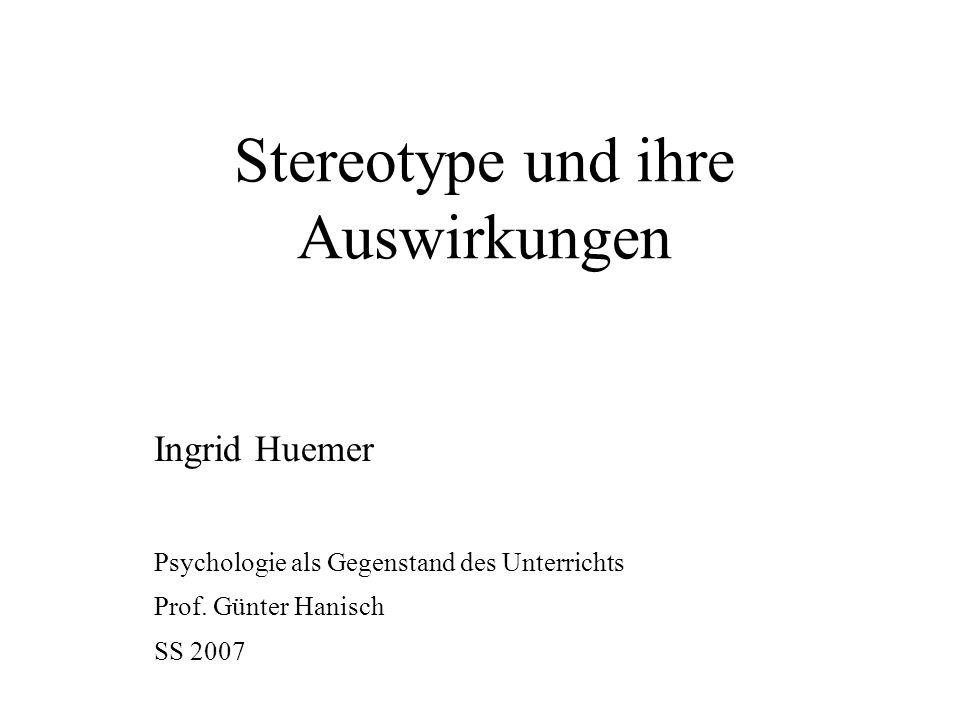 Stereotype und ihre Auswirkungen