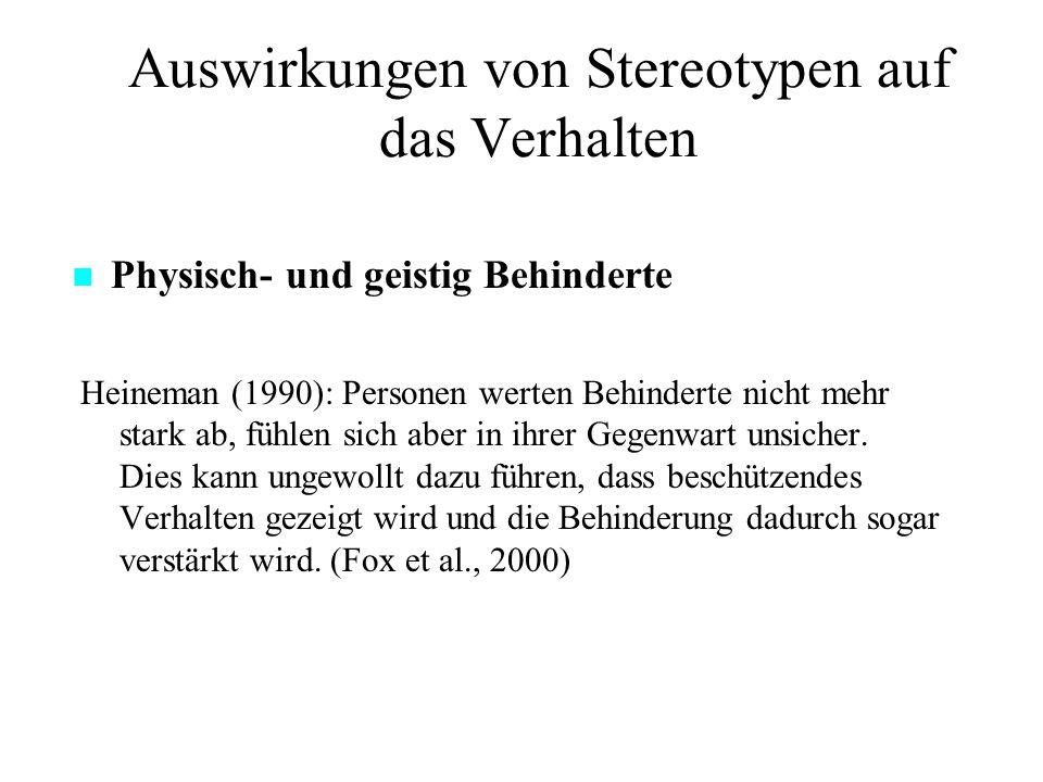 Auswirkungen von Stereotypen auf das Verhalten